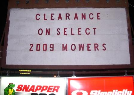 2009 Lawn Mower Clearance